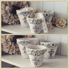 3 pieces ornaments flowerpots, These are made for decoration at home or outside, but under a pergola and not in direct rain or sun The jars I Shabby painted ornaments and I also created and attached to the jars. the pots go 3 pieces Thank you for visiting Etsy Shabby Vintage