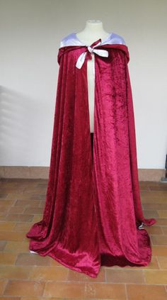 Cersei Lannister red and white medieval cloak velvet by Castelgard