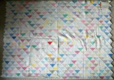 "Vintage Handmade Quilt All Hand Stitched Colorful Approx 91 x 64"" Spectacular 
