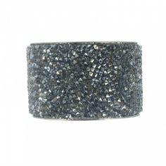 Bracelet en argent, en strass noir
