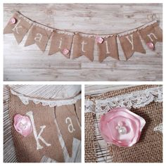 Shabby Chic Birthday Baby Shower Burlap Name Banner Pendant Bunting Custom by LydiaJeans on Etsy https://www.etsy.com/listing/213790422/shabby-chic-birthday-baby-shower-burlap