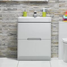 Planet White Floor Mounted 600 Drawer Unit & Basin - Victoria Plumb