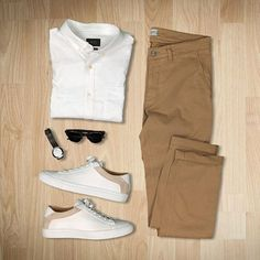 55 Mens Chinos Outfit for Cool Casual Style Classic Outfits, Casual Outfits, Men Casual, Mode Outfits, Fashion Outfits, Daily Fashion, Mens Fashion, Mens Trends, Outfit Grid
