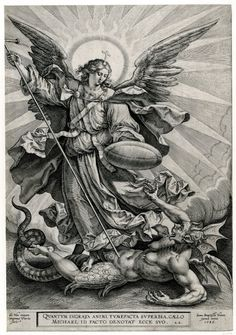 Recto St Michael triumphing over the dragon; St Michael, holding a cross-ended spear and a shield, seen standing and transfixing a monstrous creature, with breasts, wings and a dragon tail. Engraving © The Trustees of the British Museum St. Michael Tattoo, Archangel Michael Tattoo, Catholic Art, Religious Art, St Micheal, Religious Tattoos, Biblical Art, Angels And Demons, Angel Art