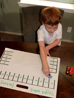 Fun way to help students with  sight words by playing the Parking Lot Game. Draw parking spaces and fill in each space with sight words. Your child should park a Hot Wheels® car on the designated word that you call out.  You can also cater this for younger children with letters and numbers.