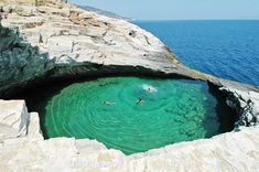 Giola is a naturally occurring giant rock pool perched on the coast of Thasos Island, Greece, and referred to by locals as Afrodite's Tear. Legend has it that Zeus created the pool for his...
