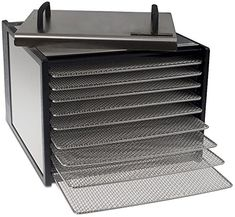 Excalibur 9 Tray Deluxe Dehydrator with 26 Hour Timer - Stainless Steel Body and Drying Racks. - deal for friends Drying Racks, Tools And Equipment, Cool Things To Buy, Decorative Boxes, Tray, Stainless Steel, Discount Sites, Anger Management
