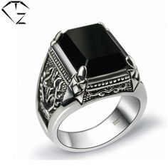 Black Stone Ring 925 Sterling Silver Marcasite Mens Punk Pure S925 Thai Silver Rings for men Jewelry