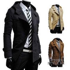 Men's Slim Fit Winter Trench Jacket