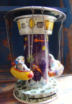 Vintage Retro Tin Toy  Flying Space Ship Merry by CozinestHollow,