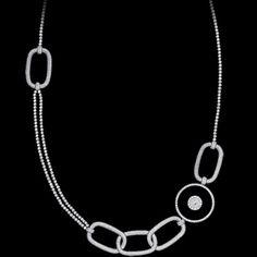 White gold Onyx Diamond Necklace G37L4410 - Piaget Luxury Jewelry Online