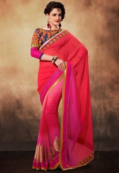 Touch Trends Pink Embellished Saree