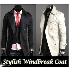 2016 Trends Men's Trench Coat Winter Long Jacket Double Breasted Overcoat