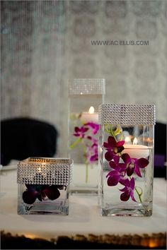 Orchid and floating candle centerpieces. the bling might be a nice matching decor by letha Bling Wedding, Fall Wedding, Diy Wedding, Wedding Reception, Dream Wedding, Pond Wedding, Wedding Events, Wedding Flowers, Wedding Ideas