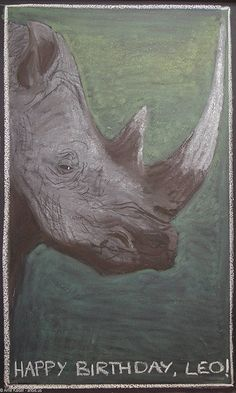 "Rhinoceros- A ""birthday"" drawing on the blackboard for Leonardo, 2nd Grade, at Pine Forest Charter School, a public Waldorf school in Flagstaff, AZ."