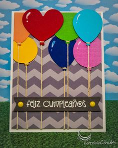 Awesome SVGs: Happy Birthday, Stringed Balloons Card with Printable Chevron Paper