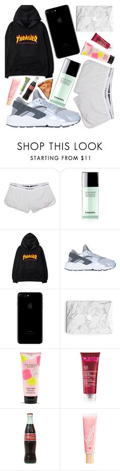 """calvin pizza"" by beautybyee ❤ liked on Polyvore featuring Calvin Klein Jeans, Chanel, NIKE, Victoria's Secret and Lano"