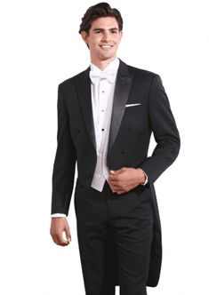 Black Hollywood Full Dress Tails by Black Label Modern fit Black tropical worsted wool Black satin peak lapel Six black satin covered buttons Tuxedo Styles, Tuxedo Rental, Covered Buttons, Black Satin, Suit Jacket, Hollywood, Fashion Suits, Mens Fashion, Bridal