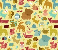 Forest Friendlies in Sun fabric by cathyheckstudio on Spoonflower - custom fabric