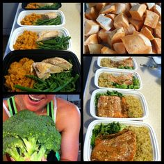 Meal prep Friday! Chicken, mashed sweet potato (made with cinnamon and almond milk) and asparagus for lunches. Wild caught salmon, fresh broccoli and quinoa for dinners! Nothing frozen, all prepared in 3 hours.