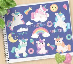 Magical Unicorn clipart, sweet dreams, moon, kawaii sun, donuts, ice cream, rainbow, little pony, Commercial Use, Vector clip art, SVG Cut Files http://etsy.me/2nFNgjW #art #drawing #rainbow #birthday #unicorn #clipart #rainbow #fairytale #scrapbooking #myclipartstore