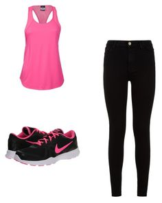 """""""Running"""" by pragya-bagree ❤ liked on Polyvore featuring 7 For All Mankind and NIKE"""