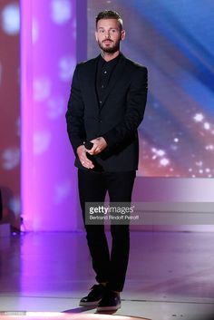 Singer M Pokora (alias Matt and Matthieu) performs and present his new Album 'R.E.D' during the 'Vivement Dimanche' French TV at Pavillon Gabriel on April 22, 2015 in Paris, France.