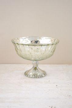 Mercury Glass Compote Silver 7x5.25in