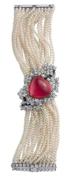 pearls, diamonds and ruby bracelet by Cartier.