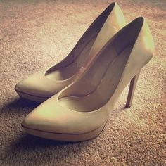 Jessica Simpson nude patent pumps Classic with more edge! Patent nude pumps. These have a very subtle bronzey/golden shimmer with the nude color. Gorgeous! Worn one time very gently for a wedding; only a few small scuffs that can be buffed out. Jessica Simpson Shoes Heels