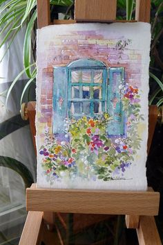 "6""x 4"" Post Card Art - Brick Cottage Window #1"