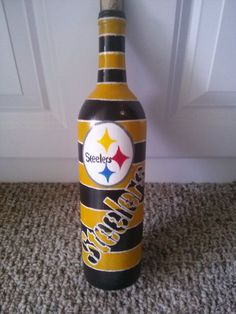 Pittsburgh Steelers hand painted wine bottle by BottleyFunctions, $40.00 #paintedwinebottles