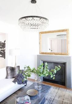 chandelier in the living room.