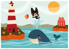by Lauren Gregg, illustration for Charles and the Whale (a show optioned by Disney).