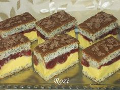Rozi Erdélyi konyhája: Meggyes mákos sütemény Poppy Cake, Hungarian Recipes, Hungarian Food, Cake Bars, Nutella, Tiramisu, Cheesecake, Muffin, Goodies