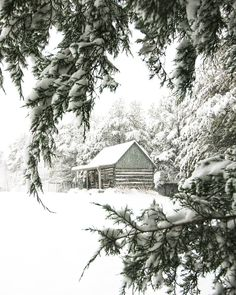The log cabin at Happy Days Farm blanketed in snow. First Day Of Winter, Winter Time, Happy Day Farm, Winter Cabin, Little Cabin, Cabins And Cottages, Small Cabins, Winter Scenery, Winter Pictures