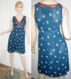 FREE PEOPLE Anthropologie Green Floral Sheer Lace Crochet Shift Dress S...http://stores.shop.ebay.com/vintagefluxed