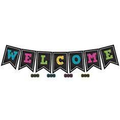 Chalkboard Brights Pennants Welcome Bulletin Board Display - Use GIANT letters to create a welcome sign that no one can miss! Each pennant is x Also includes 41 multi-purpose cards and a teacher's guide with suggested activities. Welcome Bulletin Boards, Calendar Bulletin Boards, Bulletin Board Display, Welcome Banner, Kindergarten Classroom Decor, Toddler Classroom, Classroom Design, Classroom Themes, Classroom Setting
