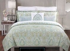 Cynthia Rowley 3 Piece King Duvet Cover Set With Shams Blue Beige Spring Green Paisley
