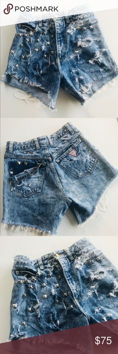 Vtg Guess Distressed High Waist Jean Shorts Vtg Guess Georges Marciano Distressed High Waist Jean Shorts. Size 29, see pictures for additional measurements.. back of shorts came unraveled and I just left it alone! Adds flare & Funk 🔥 Guess Shorts