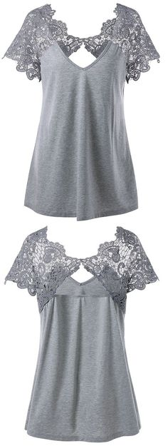 Plus Size Cutwork Lace Trim T-Shirt – Gray – – Plus Size Fashion Sewing Clothes, Diy Clothes, Dress Sewing, Summer Clothes, Sewing Box, Clothes Women, Pretty Outfits, Cool Outfits, Casual Outfits