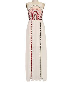 Taupe Geo Embroidered Maxi Dress