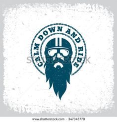 Vintage label with bearded man in a helmet and goggles on grunge background for t-shirt print, poster, emblem. Vector illustration.