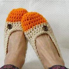Crochet Slippers for Women Two Toned Orange Sherbert