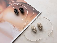Photo Jewelry, Cute Jewelry, Unusual Jewelry, Last Minute Gifts, Minimalist Jewelry, Leather Earrings, Pine Cones, Sterling Silver Earrings, Botanical Art