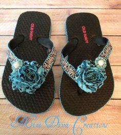 Girls turquoise zebra flip flops available on our FB page Mini Diva Creations.