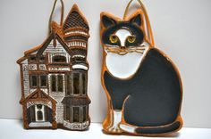 Victoria Littlejohn Duo Ceramic Plaques Cat and Victorian House