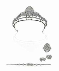 My convertible tiara   An Art Deco diamond tiara/necklace  convertible into brooch earrings and bracelet.  est $30000 to $38k on sale now!