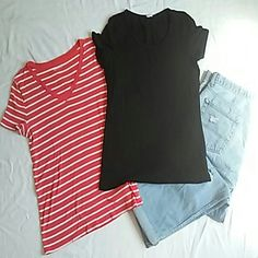BUY 2 GET 1 FREE SALE 2 Tees Bundle Both are large. Good condition, gently preloved. One all balck from H&M had to cut out tag. Other is from Menora white and peachy pink stripes. Will sell seprately ($5 a piece). H&M Tops Tees - Short Sleeve