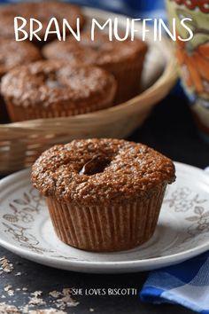 Surprisingly Amazing Date Bran Muffins - She loves biscotti Date Muffins, Bran Muffins, Baking Muffins, Muffin Recipes, Baking Recipes, Cake Recipes, Dessert Recipes, Breakfast Recipes, Vegan Breakfast